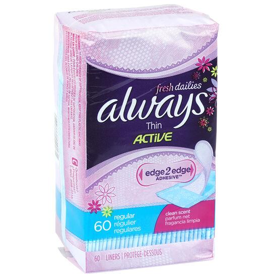 Always Thin Active Liners Fresh Dailies - Regular - 60's