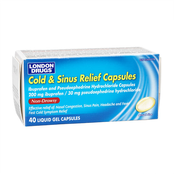 London Drugs Cold and Sinus Relief Liquid Gel Capsules - 40's