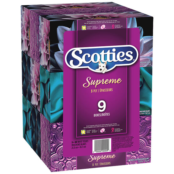 Scotties Supreme 3 PLY Facial Tissues - 9 x 88's