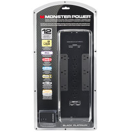Monster Black Platinum 1200 12-Outlet Surger Protector - Black - MPBPL1200EF