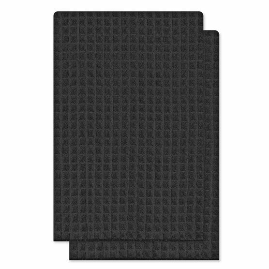 Kitchenworks Waffle Tea Towel - Black - 2 pack