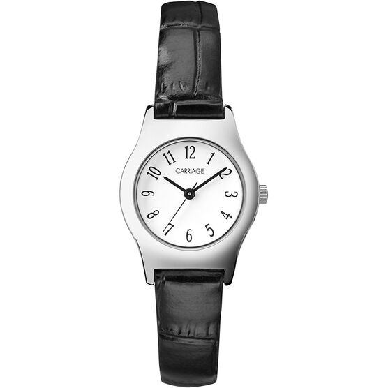 Timex Carriage Mid Size Leather Watch - Black/Silver