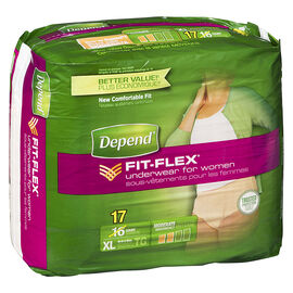 Depend Fit-Flex Underwear for Women - Moderate Absorbency - Extra Large - 17's
