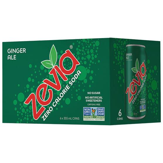Zevia Soda - Ginger Ale - 6 x 355ml