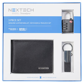 Nextech Leather Wallet & Padlock Gift Set - 3 Piece