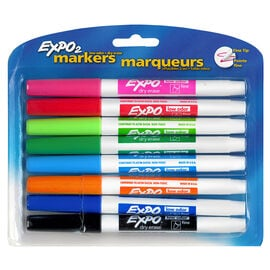 Expo Dry Eraser Fine Tip Markers - Assorted - 8's
