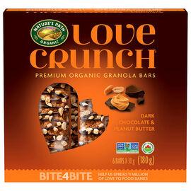 Nature's Path Organic - Love Crunch Premium Organic Granola Bars - Dark Chocolate and Peanut Butter - 6 Bars x 30g