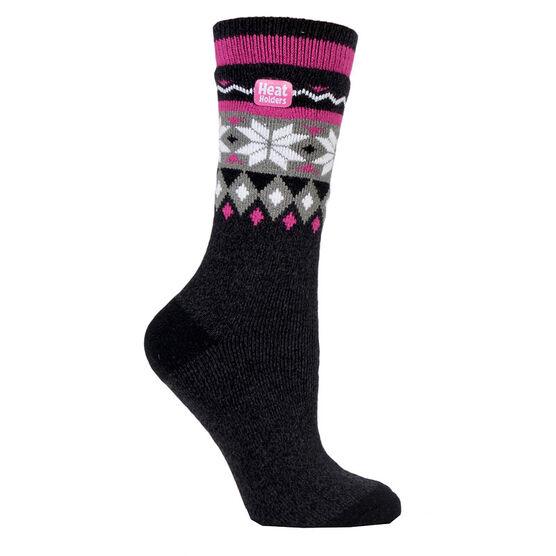 Heat Holders Ladies Jacq Lite Fair isle Crew Sock - Black/Charcoal