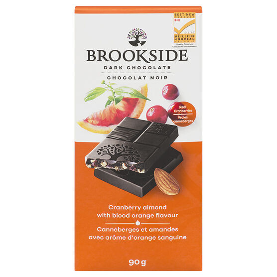 Brookside Dark Chocolate Bar - Cranberry Almond with Blood Orange Flavour - 90g