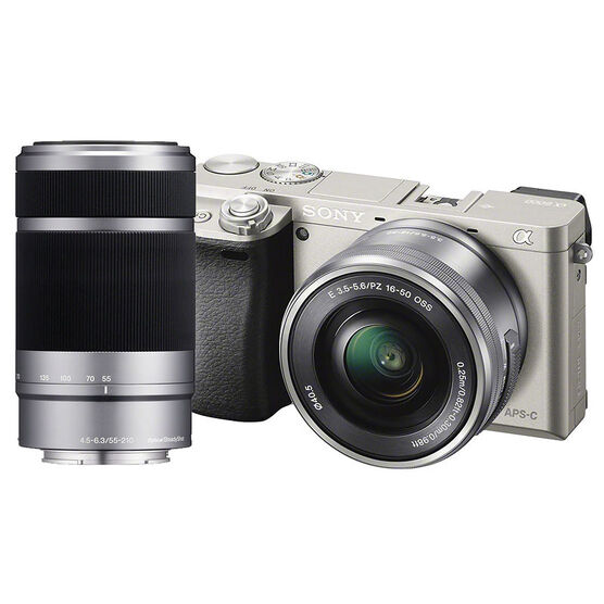 Sony a6000 with 16-50mm and 55-210mm Lens - Silver - PKG 16294