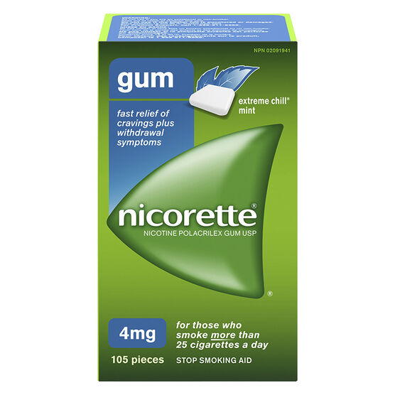 Nicorette Plus Coated Gum with Whitening - Extreme Chill Mint - 4mg Extra Strength - 105's