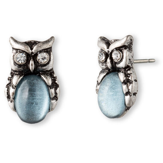 Lonna & Lilly Owl Button Earrings - Silver Tone