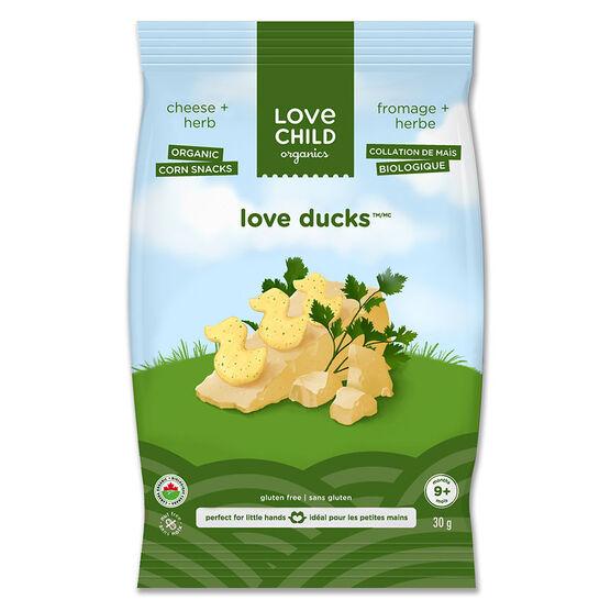 Love Child Love Ducks Organic Corn Snacks - Cheese + Herb - 30g