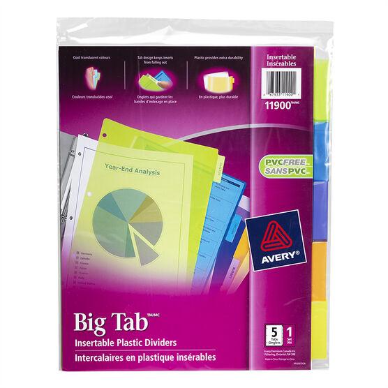 Avery Big Tab Insertable Plastic Dividers - 5-Tab set - 11900