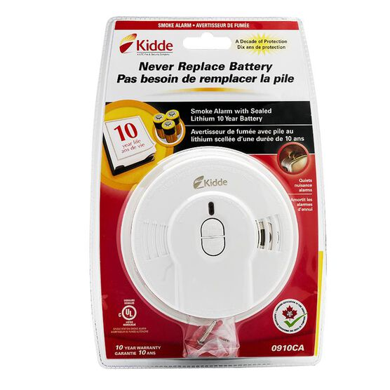 Kidde 10 Year Tamper-Proof Smoke Alarm with Hush Button - 0910CA