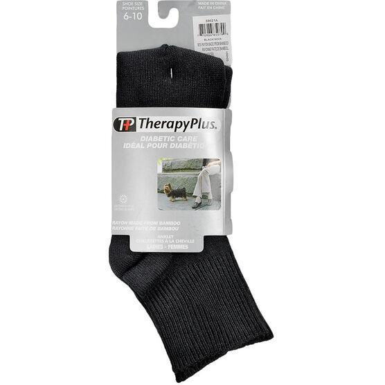 TherapyPlus Diabetic Ladies Quarter Socks - Bamboo - Black