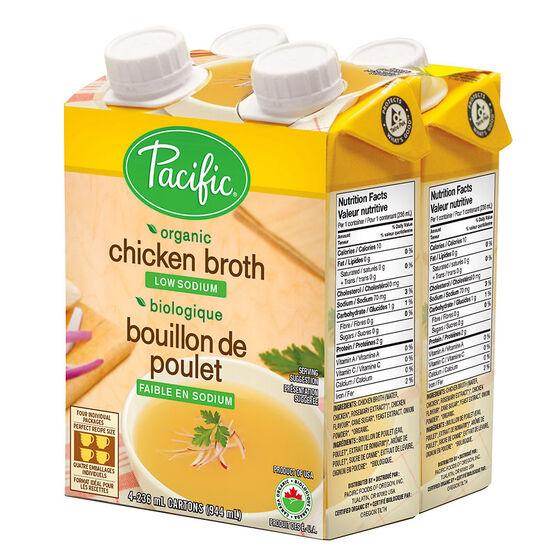Pacific Organic Chicken Broth - Low Sodium - 4 x 236ml
