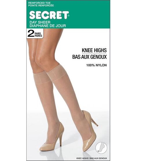 Secret Deluxe Knee High's -Beige - 2 pair