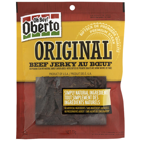 Oberto Beef Jerky Original Meat Snacks - 70g