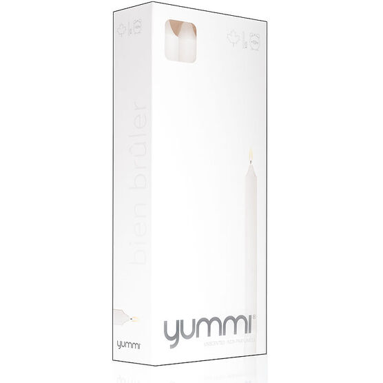Yummi Formal 8inch Candle - White - 20 pack