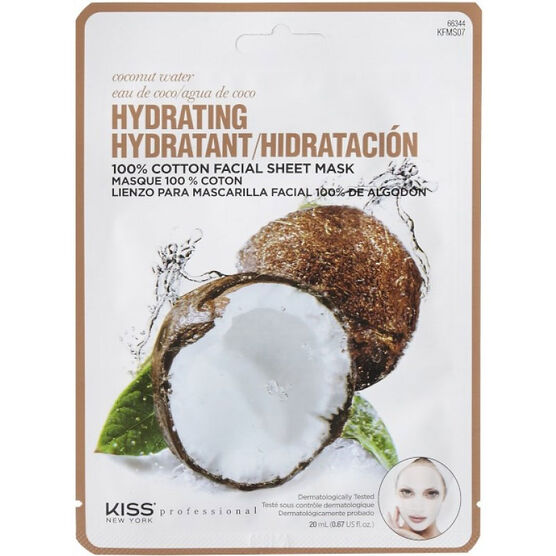 Kiss Pro Cotton Facial Sheet Mask - Hydrating Coconut Water - KFMS07C