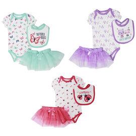 Baby Mode 3-Piece Bodysuit Set - Girls - 0-9 months - Assorted