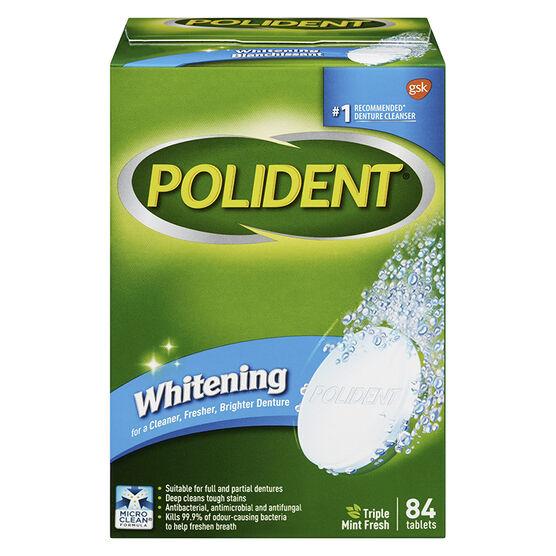 Polident Whitening Denture Cleanser - Triple Mint Fresh - 84's