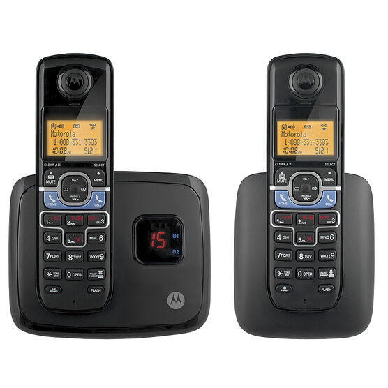 Motorola 2 Handset Bluetooth Cordless Phone - Black - L702BT