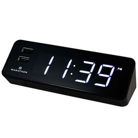 Marathon Alarm Clock with USB - Black - CL030055BK
