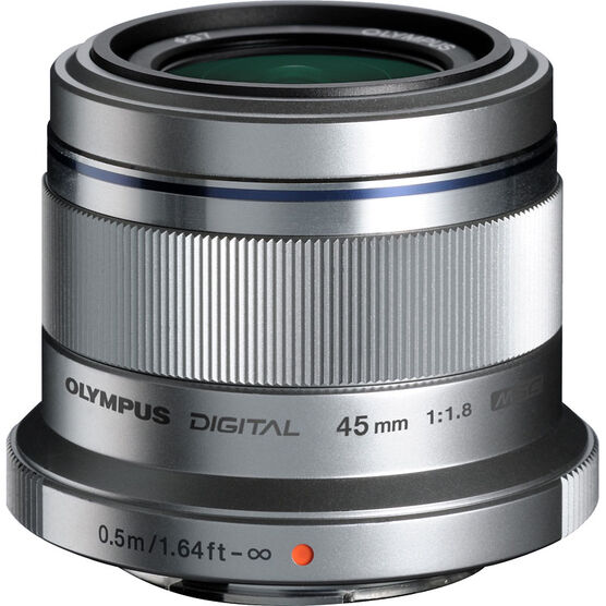 Olympus M. Zuiko ED 45mm f/1.8 Lens - Silver - V311030SU00
