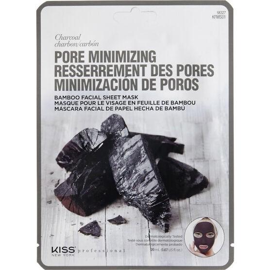 Kiss Pro Bamboo Facial Sheet Mask - Pore Minimizing Charcoal - KFMS01C