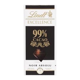 Lindt Excellence Chocolate Bar - 99% Cocoa Noir Absolu - 50g