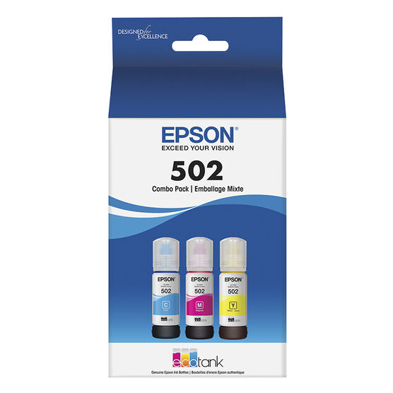 Epson EcoTank 502 Colour Ink Bottles - 3 Pack - T502520-S
