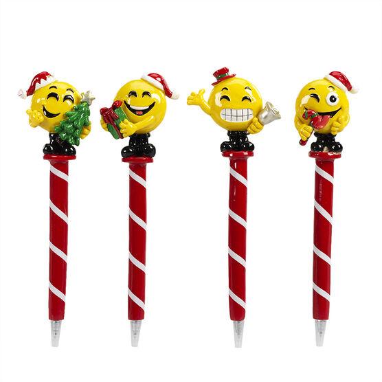 Hand Painted Christmas Emoji Pen - Assorted