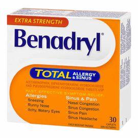 Benadryl Total Allergy and Sinus - Extra Strength - 30 caplets
