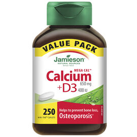 Jamieson Mega CalTM Calcium 650 mg + D3 400 IU - 250's