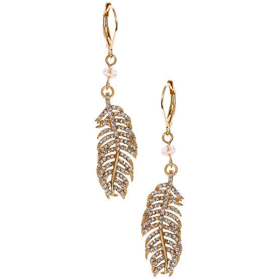 Lonna Lilly Feather Earrings - Gold