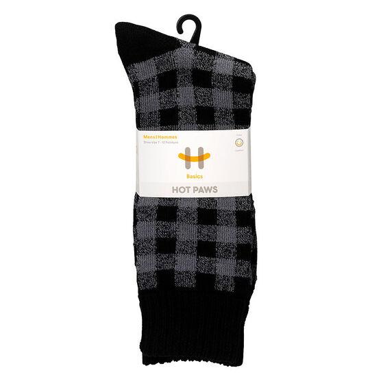 Hot Paws Men's Plaid Crew Socks - Black - Assorted
