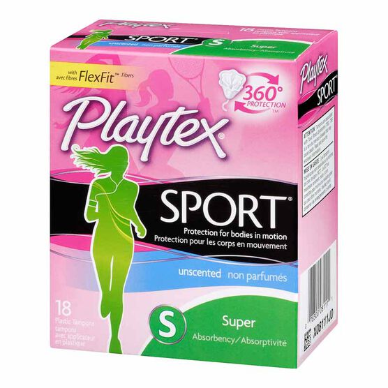 Playtex Sport Tampons - Super Absorbency - Unscented - 18's