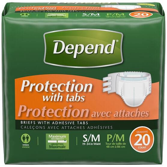 Depend Briefs with Fastening Tabs - Maximum Absorbency - Small/Medium - 20's
