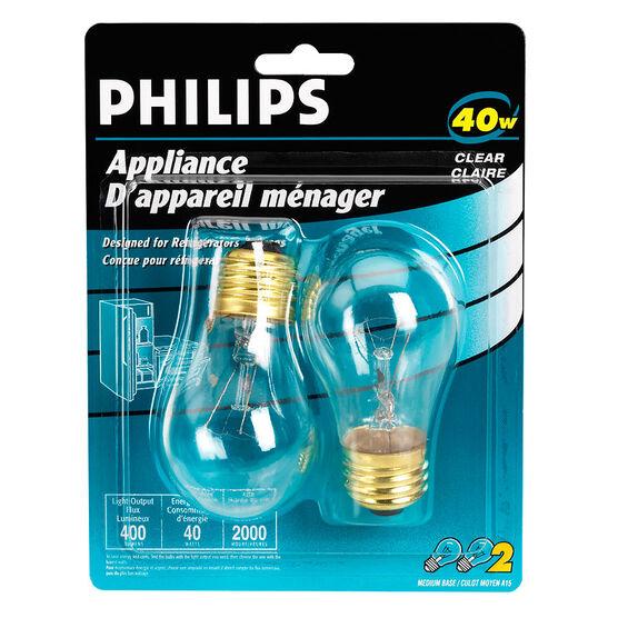 Philips 40W Appliance Light Bulbs - 2 pack - 208967