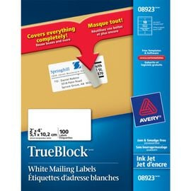 Avery White Shipping Labels for Inkjet Printers - 100 labels