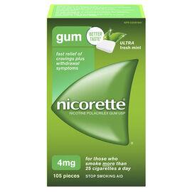 Nicorette Nicotine Gum Stop Smoking Aid - Ultra Fresh Mint - 4mg - 105's