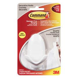 Command™ Medium Double Hook - Quartz - 1 hook