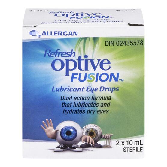 Refresh Optive Fusion Lubricant Eye Drops - 2 x 10ml