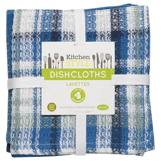 Kitchen Style Dishcloth - Blue - 4 pack