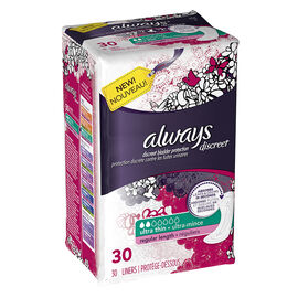 Always Discreet Liners Ultra Thin Regular Length - 30's