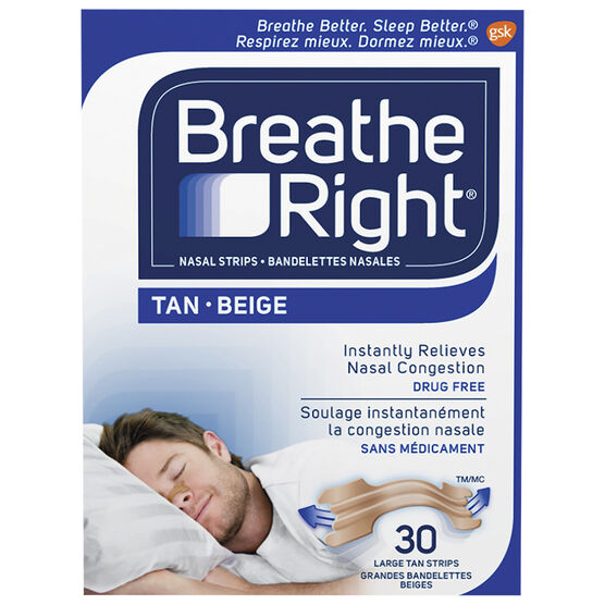 Breathe Right Nasal Strips - Tan - Large - 30's