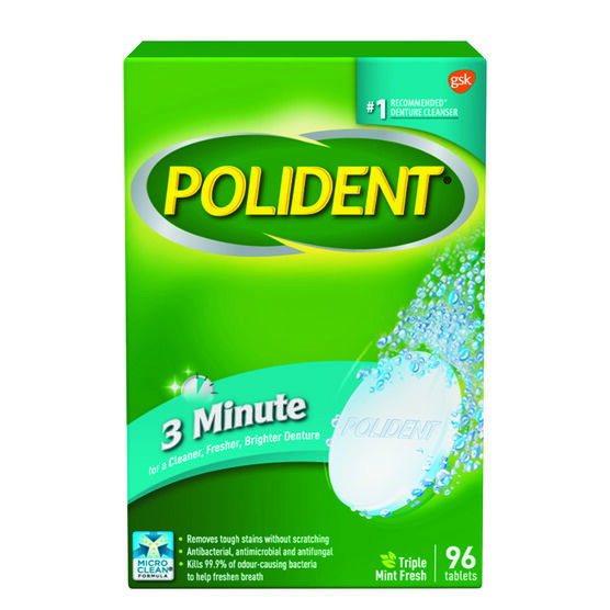 Polident 3 Minute Denture Cleanser Tablets - 96's
