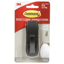 Command™ Large Modern Reflections Oil Rubbed Metal Hook - Bronze - Single
